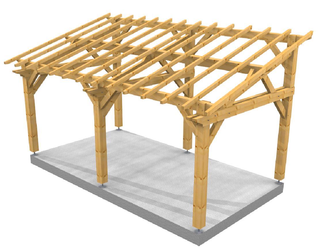 Auvent 1 pente Farm SOCAB 3d structure