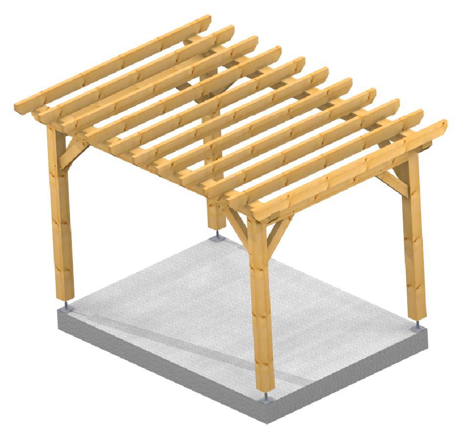 Pergola 2.50x3.50m 3d structure