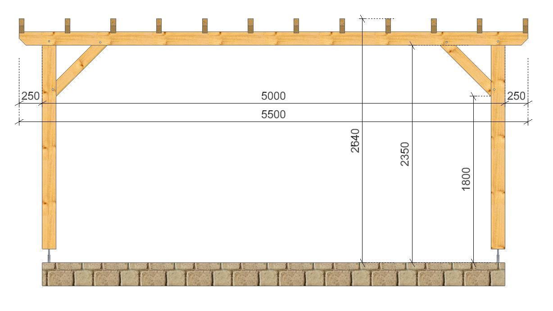 Pergola Campagne SOCAB 3.50x5.00m coupe sur long pan