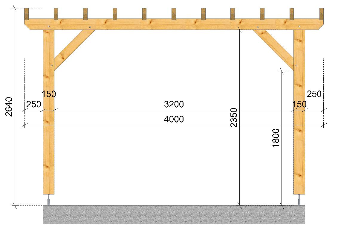 Pergola montagne socab coupe sur long pan socab for Wohnwand 2 50 m