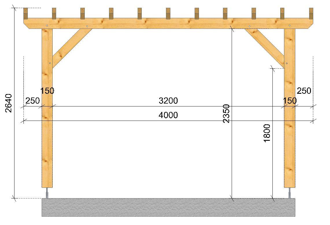 Pergola Montagne SOCAB 2.50x3.50m coupe sur long pan