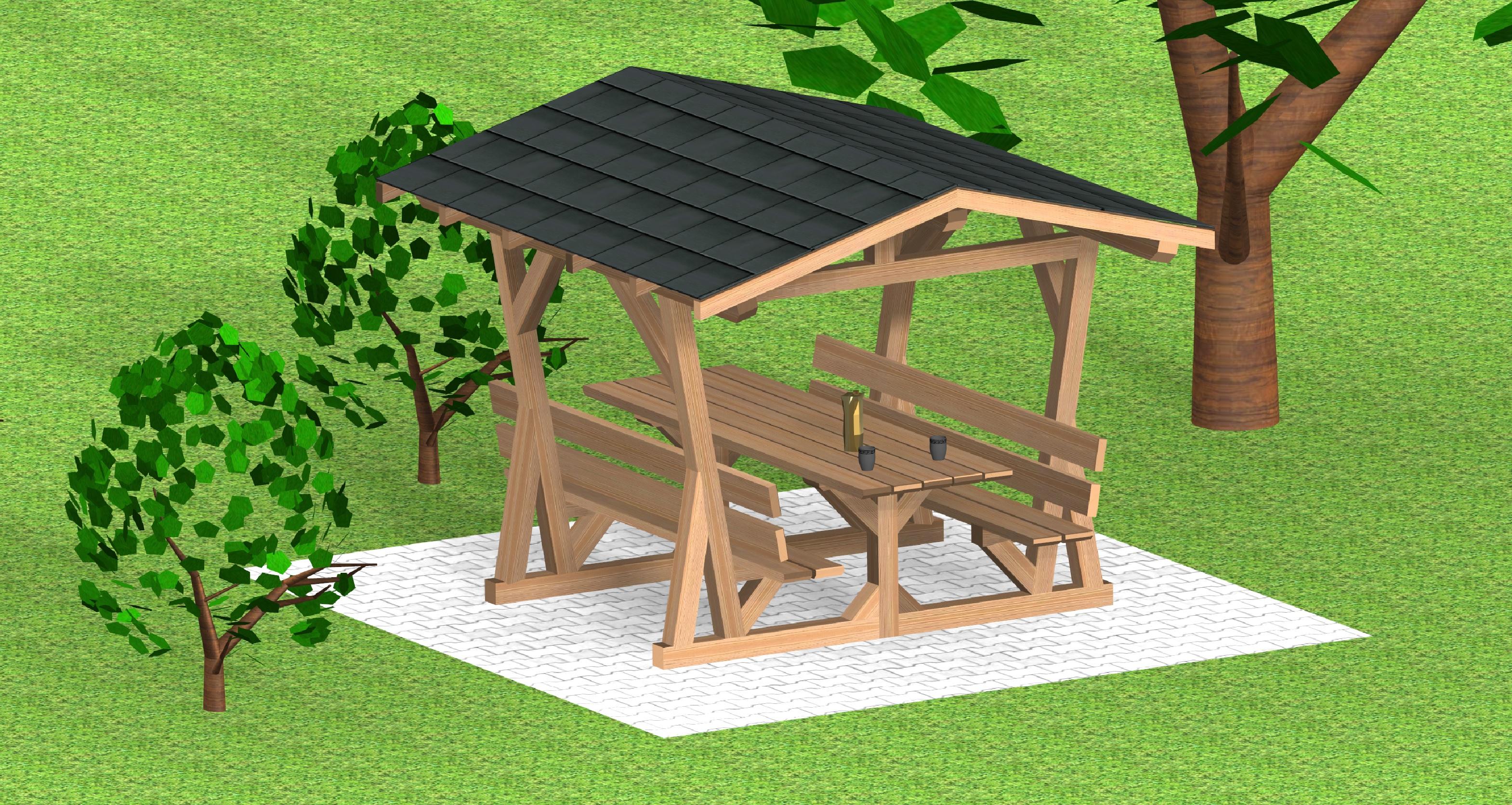SOCAB Table de pique nique abritee Vue 3d en espace vert