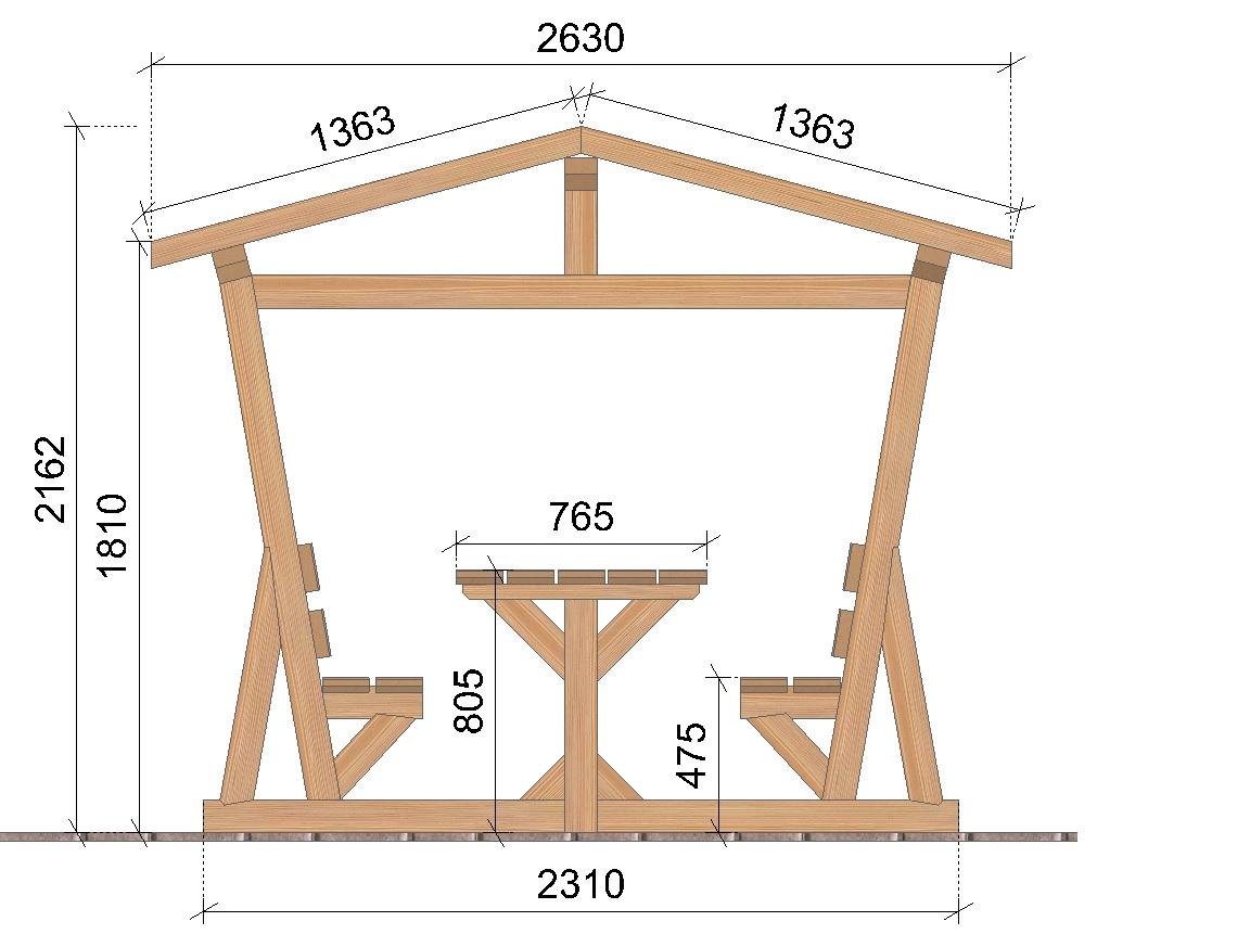 Table de jardin abritée SOCAB coupe largeur