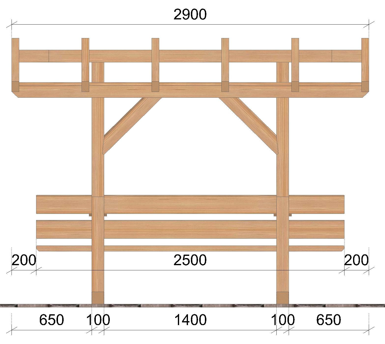 Table de jardin abritée SOCAB coupe longueur