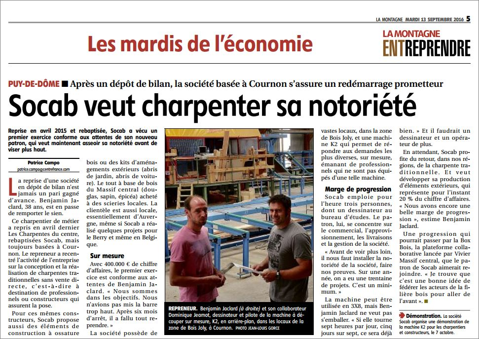 Article SOCAB - Journal La Montagne - 130916