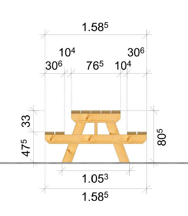 Table de camping cotation largeur